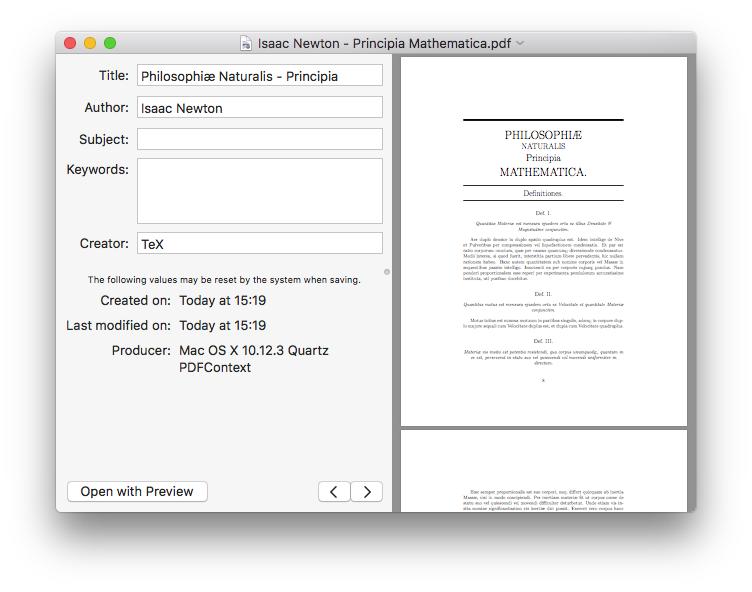 Screenshot showing editing metadata in a PDF of Isaac Newton's Principia Mathematica